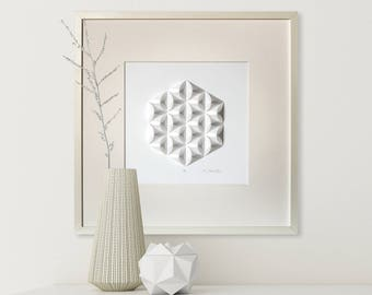Paper Crystal Mosaic Relief Wall Art Cre3 - Geometric Modernist Minimal Origami Sculpture White Abstract Folding Tessellation Home Deco