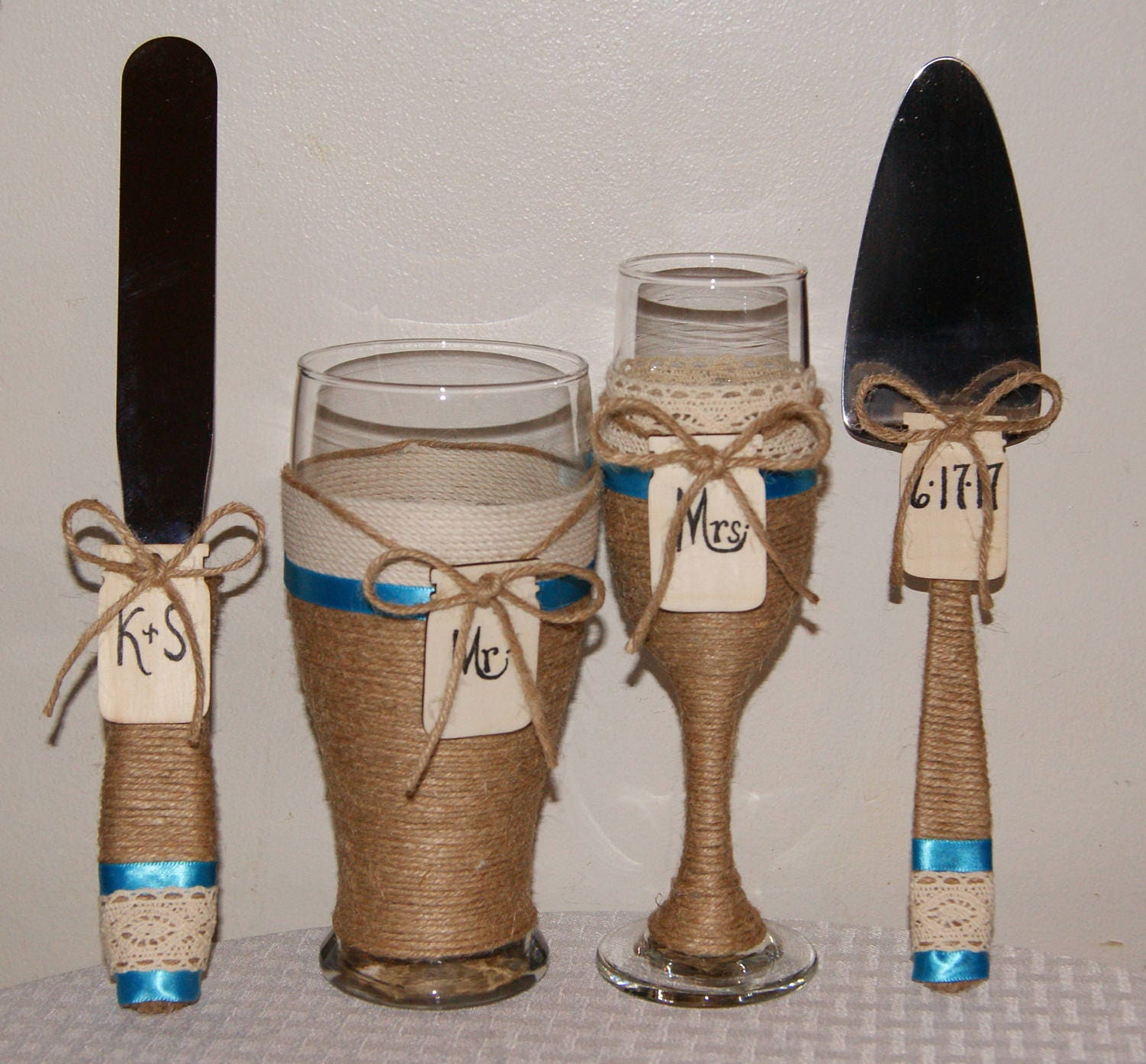 Country Western Wedding Glasses and Cake Cutting Set Cake