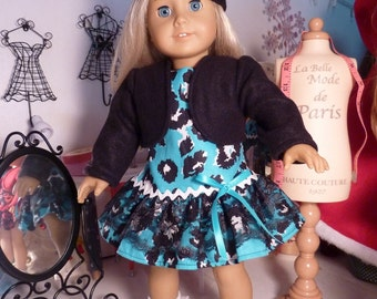 "18"" American Girl Doll Turquoise Cheetah Print French Dress, Jacket Shrug & Beret Tam 3 piece Set"