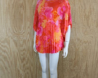 Vintage 1970's GREENECASTLE Neon Floral Accordion Pleat Butterfly Sleeve Hippie Capelet Cape Tunic Blouse Top Shirt OSFM