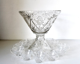 Pedestal Glass Punch Bowl Set 14 Pieces Star of David