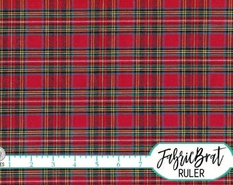 HOMESPUN ROYAL STEWART Tartan Fabric by the Yard Fat Quarter Red & Green Plaid Fabric Quilting Fabric Apparel Fabric 100% Cotton Fabric w6-1