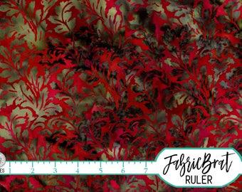 RED LEAF BATIK Fabric by the Yard, Fat Quarter Leaf Fabric Red & Green Fabric Hand Dyed Fabric Quilting Fabric 100% Cotton Fabric t7-3
