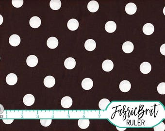 BROWN POLKA DOT Fabric by the Yard, Fat Quarter White & Brown Fabric Big Dot Fabric Quilting Fabric 100% Cotton Fabric Apparel Fabric w10-20