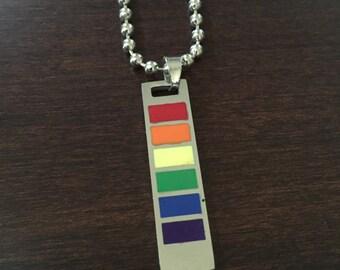 rainbow necklace, pride necklace, pride, rainbow, rainbow jewelry, pride jewelry, rainbow pendant, pride pendant, silver necklace, necklace