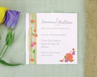 Rustic Floral Wedding Invitation