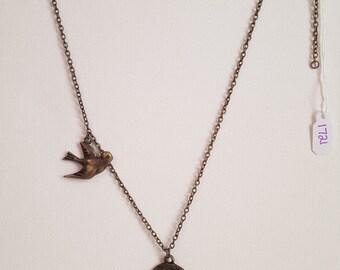 Antique Brass Blue Bird Nest Necklace 1721