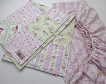 Cottage Floral Crib Bedding Set - Crib Quilt and Fitted Crib Sheet - Ready to Ship