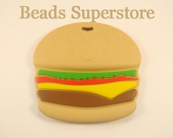 Large Silicone Hamburger Teether - Food Grade Teether - Teething Necklace Silicone Pendant