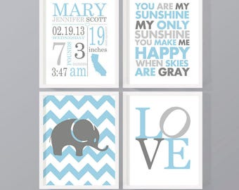 blue gray personalized baby decor, baby boy birth stats wall art, birth details print, new baby print, birth print, baby boy nursery decor