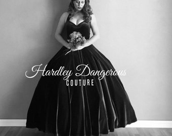 BLACK Velvet Cherrybomb Ballgown with Classic Halter Straps and Sweetheart Neckline by Hardley Dangerous Couture, Pin Up Prom Wedding