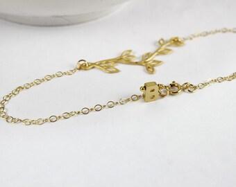 Personalized Olive Branch Bracelet,Leaf Initial Bracelet, gold letter,Personalized bridesmaid gift, Olive Branch, Branch Bracelet.Christian