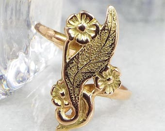 Antique Victorian Art Nouveau 9ct Yellow Gold Forget Me Not Flower Ring / Size N