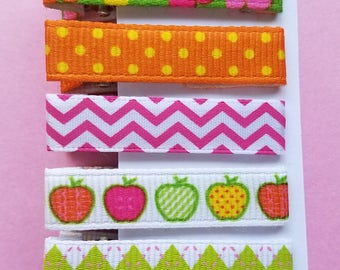 5 piece Hair Clip Set/Flower/Polka Dot/Chevron/Apples/Argyle Prints/Baby Girl/girls hair clip/Hair Accessory