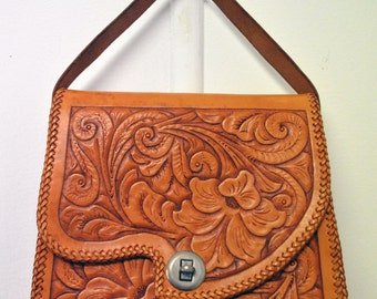 Vintage 1970's Tooled Leather Handbag