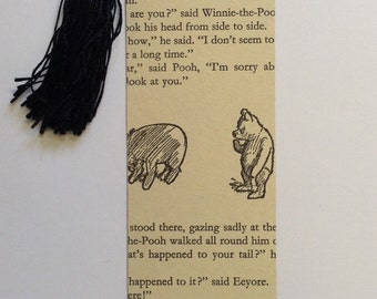 Handmade Bookmarks - Winnie The Pooh - Black Tassel - Vintage Bead Charm - Book Lover Gift