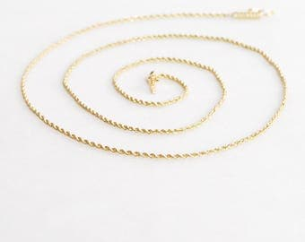 SALE - 14k Solid Gold Spiral Rope Chain, 20 inches long, 3.3 Grams, Fine Estate Gold Necklace, Signed RCI, Add Pendant or Layer