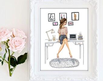 Fashion illustration - Boss lady print, Office wall art, Office decor, Office artwork, Fashion print office, Girl boss illustrations