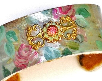 Flower Cuff Bracelet Painted Roses Victorian Boho Chic Jewelry FREE SHIPPING