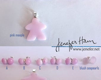 soft pink opaque SEAPEARLS! Lovely glass stud post earrings with sterling silver by Jenefer Ham