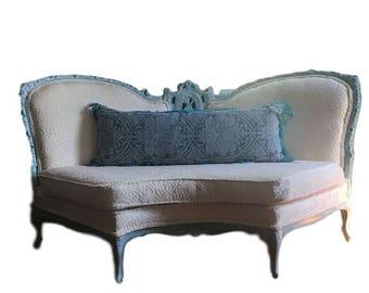 Antique Settee Cream Embossed Velvet - Antique Sofa