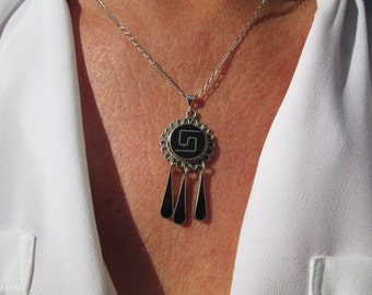 Black Onyx and Sterling Inlay Necklace