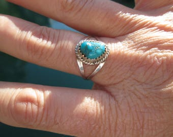 Turquoise and Sterling Silver Ring Size 9