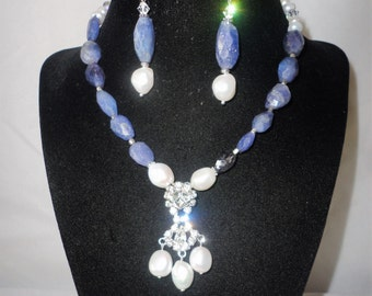 A Magnificent Renaissance Inspired African Tanzanite Baroque Pearls Necklace Set***.