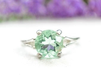 Natural Brilliant Cut Fluorite Ring in 925 Sterling Silver *Free Worldwide Shipping*