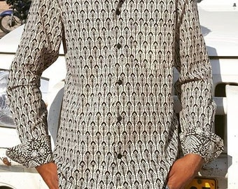 Man Long Sleeves  Fitted Shirt made of Pure Cotton in BLACK and WHITE  handmade Block Print