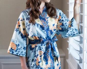 Maternity Robe • Long Maternity Kimono • Nursing Hospital robe •  Maternity Dressing gown • Floral Cotton BTQ Blue Yellow Orange Navy