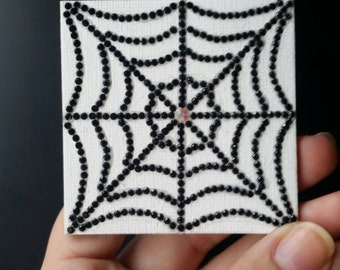 Rhinestone Spiderweb Fridge Magnet