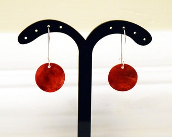 Pretty Red Shell Disc Silver Plated Earrings