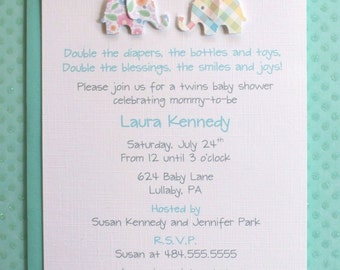 Twins Boy Girl Pink Blue Green Teal Seafoam Elephants Baby Shower Birthday Invitations - Die Cut - Set of 10 Cards with Envelopes