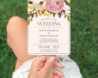 Wedding Fan Programs - Sweet Blooms Wedding Program Template - Printable DIY Editable Wedding Program - DIY Program - Instant Download