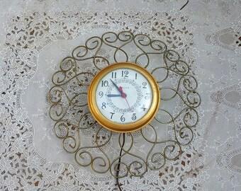 Gold Starburst Clock Etsy