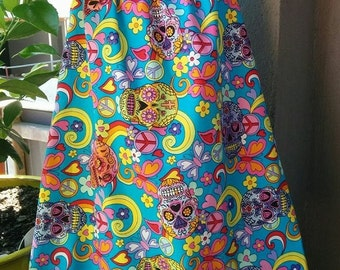 Size 5 Girls bright blue with Skulls Dress with Flutter Sleeves. Flowers, Butterflies, Hippy, hearts, peace