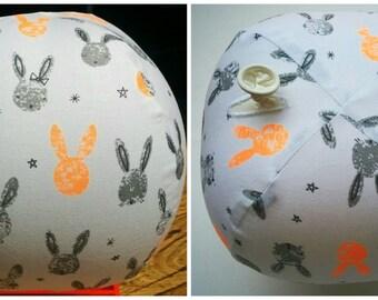 Fabric Balloon Ball bunnies, grey, orange, fluro, easter bunny, stars, rabbit ; regular balloon inserted into fabric and inflated