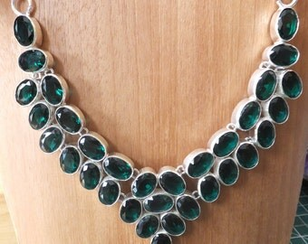 Green Tourmaline and Sterling Silver Bib Necklace 18 inches in length