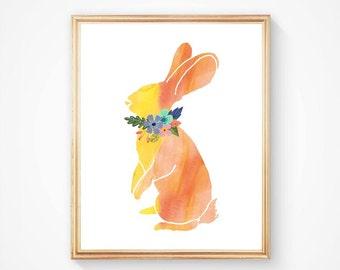 Rabbit Print, Watercolor Rabbit Art, Floral Rabbit, Woodland Watercolor, Animal Art, Woodland Nursery, Wall Art Rabbit, Rustic Home Decor