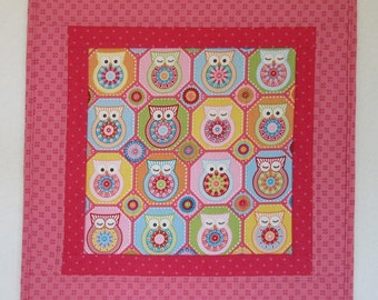 "Doll Quilt, 17"" x 17"", Pink, Magenta, Owls, Folk Art Quilt, Free Pillow"