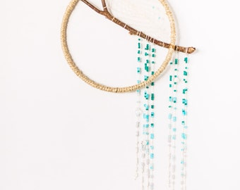 Ombre Dreamcatcher, Winter, Blue ombre beaded dreamcatcher, minimalistic dreamcatcher, boho dreamcatcher, wall art
