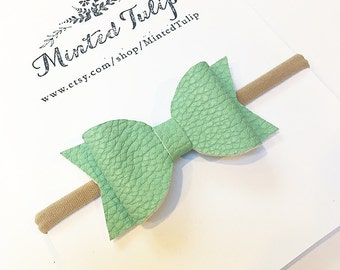 CLEARANCE Mint Green Faux Leather Bow on Headband or Hair Clip