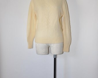70s ivory wool sweater / 1970s pointelle knit top / vintage Pendleton pullover