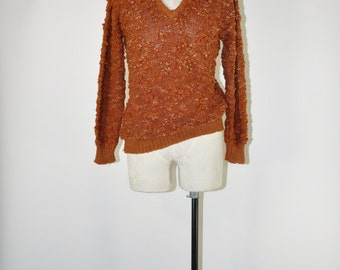 90s nubby knit sweater / 1990s cinnamon pullover / slouch acrylic sweater