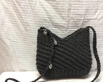 Capelli ,Black Woven Purse, Shoulder Bag, Heart, Flower, Charms,Summer purse