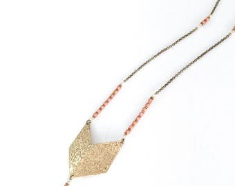 The Boho Babe - Brass chevron pendant tassel necklace.