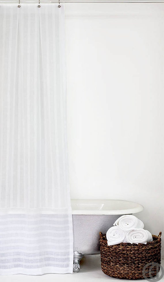 extra long white stripe fabric shower curtain with horizontal