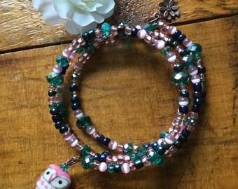 Pink & Teal Beaded Bracelet