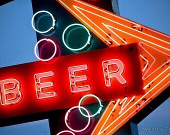 Beer Neon - Midcentury Liquor Store Neon Photograph